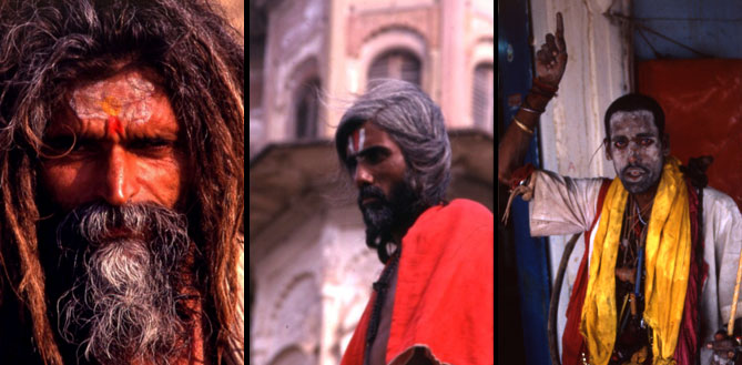 Three sadhus found on Manikarnika. The man on the far left wears a tilak, or forehead decoration suggesting an affiliation with one of the local Vaishnava, (those that worship Vishnu), sects, possibly the Paramhansa. The three vertical stripes on the man in the middle mark him as a member of an unspecified Shaiva group, (those that worship Shiva). The man on the far right has just finished rubbing ashes on his face. He wears a number of talismans around his neck, many of which are inconsistent or contradictory to one another. He wears no tilak so one can assume he is not a member of any particular group but follows his own unique spiritual calling.